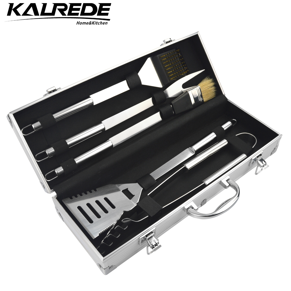 kalrede stainless steel bbq grill tools set accessories aluminium carry case outdoor cooking. Black Bedroom Furniture Sets. Home Design Ideas