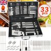 33pcs Stainless Steel BBQ Grill Tools Set Utensil Cooking Cutlery Kit W/ Case UK